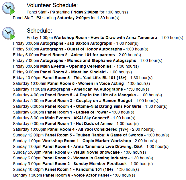 This doesn't include the times I'll be roaming AA, Dealer Room, or the Video Rooms.
